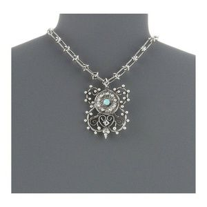 DANNIJO Liberty Necklace Ox Silver/Clear/Emerald